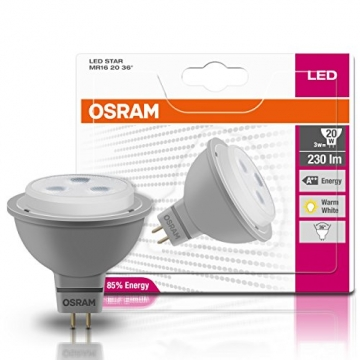 OSRAM LED-Reflektorlampe GU5.3 Star MR16 12V / 3W - 20 Watt-Ersatz, LED-Spot Abstrahlungswinkel 36° / warmweiß - 2700K, 6er Pack -