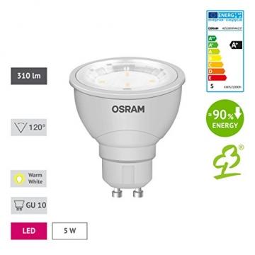 OSRAM LED-Reflektorlampe GU10 Star PAR16 / 5W - 50 Watt-Ersatz, LED-Spot, Abstrahlungswinkel 120° / warmweiß - 2700K, 6er Pack -